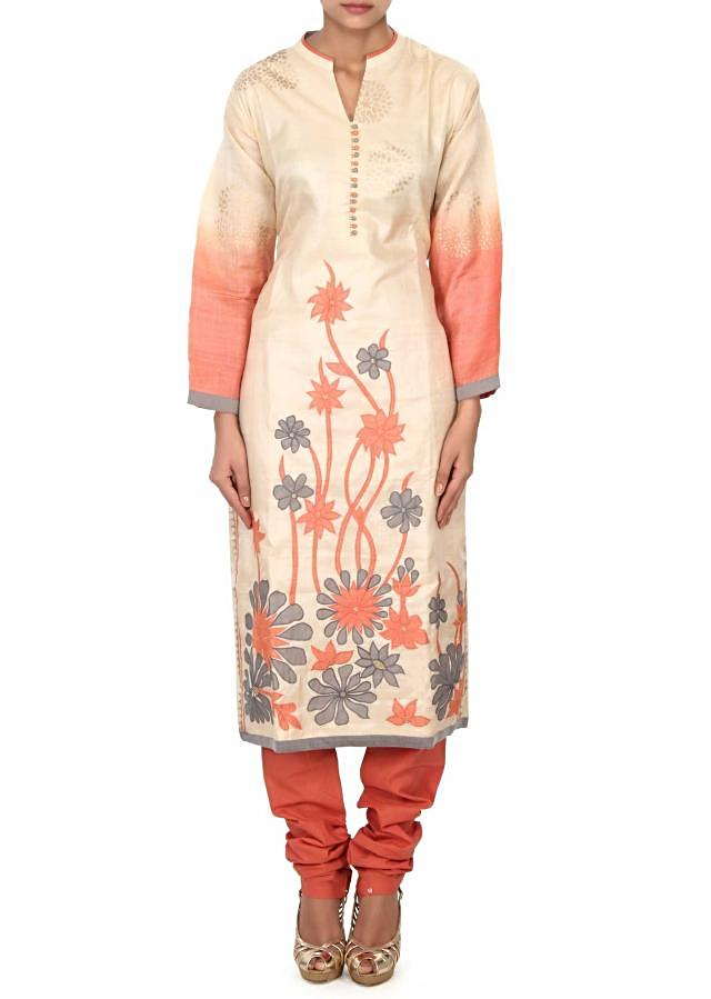 Cream straight suit adorn in applique embroidery only on Kalki