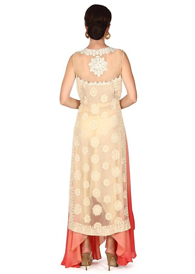 Cream straight suit adorn in thread embroidery only on Kalki