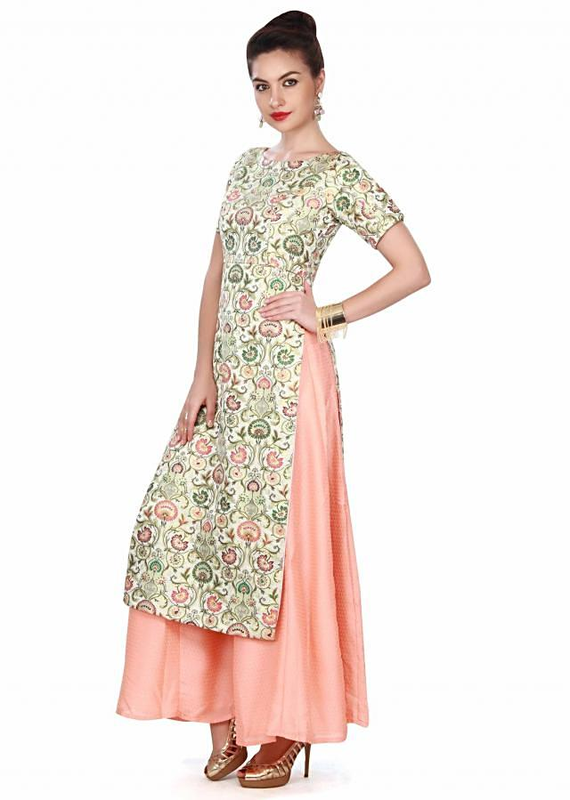 Cream straight suit in brocade with palazzo pant only on Kalki