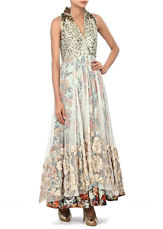 Cream suit embellished in thread and sequin embroidery only on Kalki