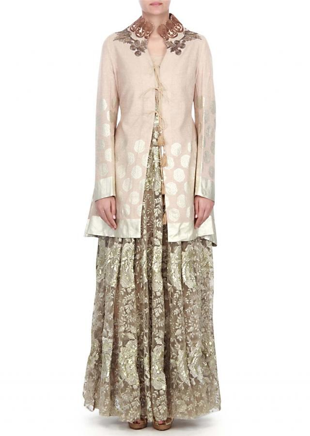 Cream suit matched with zari embroidered jacket only on kalki