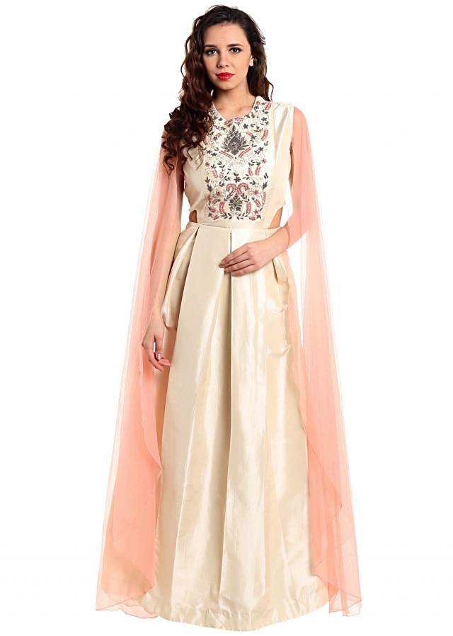 Cream suit with embroidered bodice and slit sleeve only on Kalki
