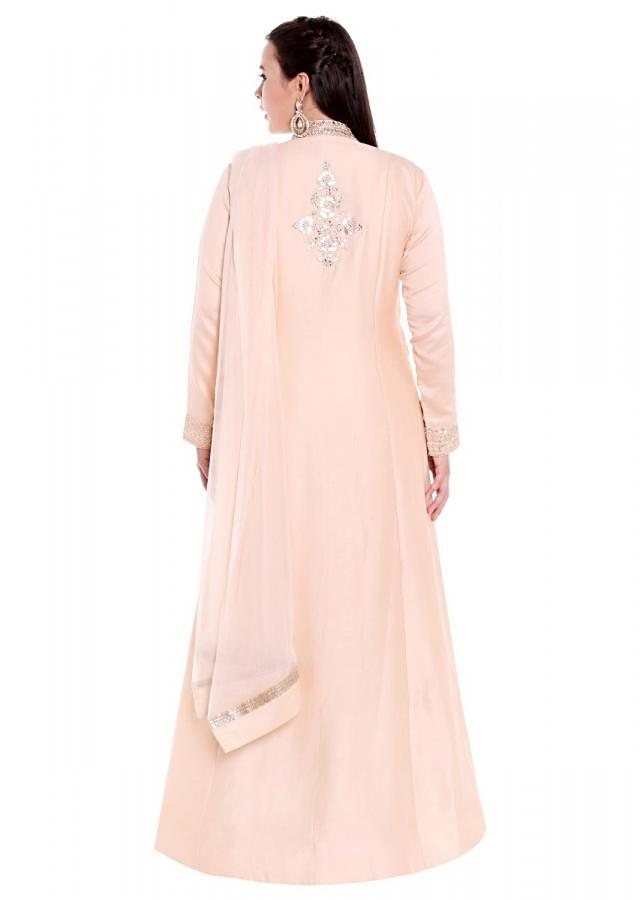 Cream suit with front slit in gotta patch embroidered placket only on Kalki