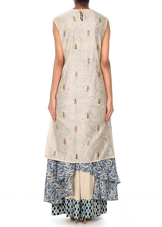 Cream top with printed layer in mirror embroidery only on Kalki