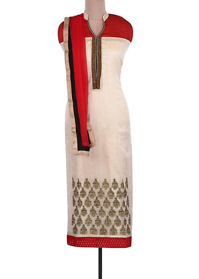 Cream Unstitched Suit Adorn In Embroidered Placket Only On Kalki