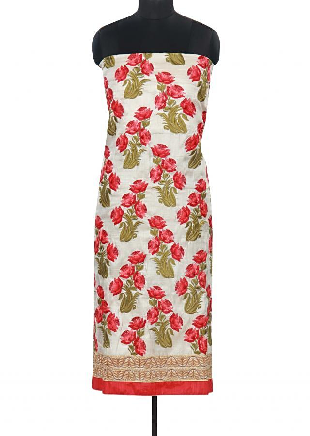 Cream unstitched suit adorn in floral resham butti only on Kalki
