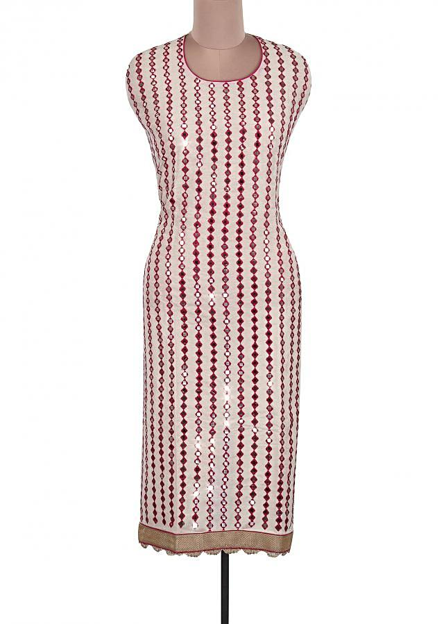 Cream and pink unstitched Suit Adorn In Mirror Embroidery Only On Kalki