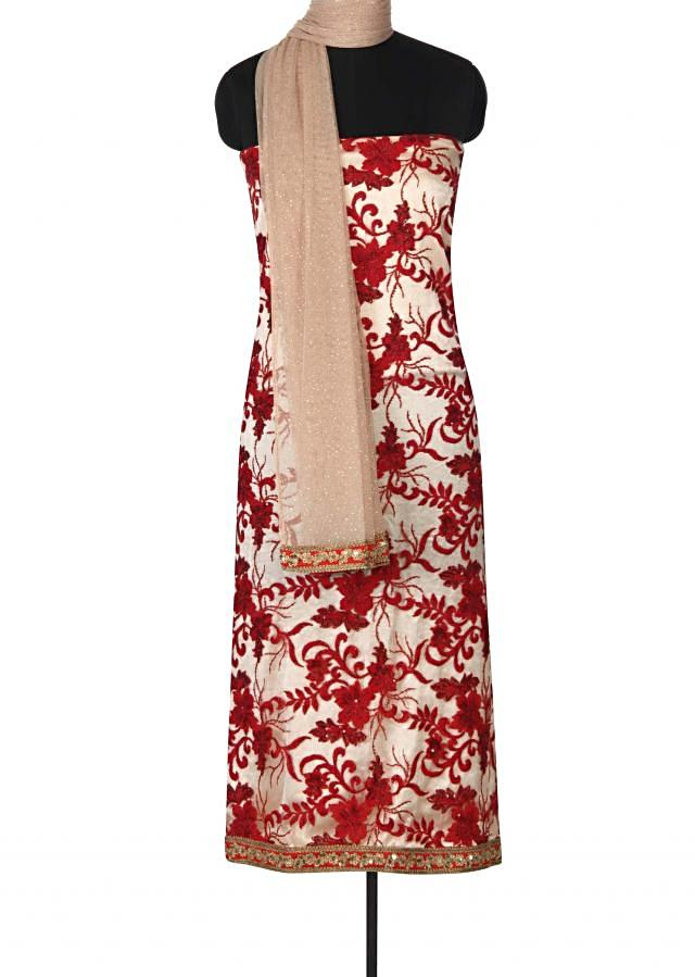 Cream unstitched suit adorn in resham and sequin only on Kalki