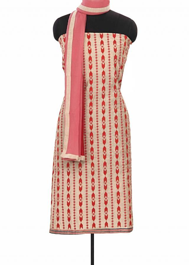 Cream unstitched suit adorn in resham embroidery only on Kalki