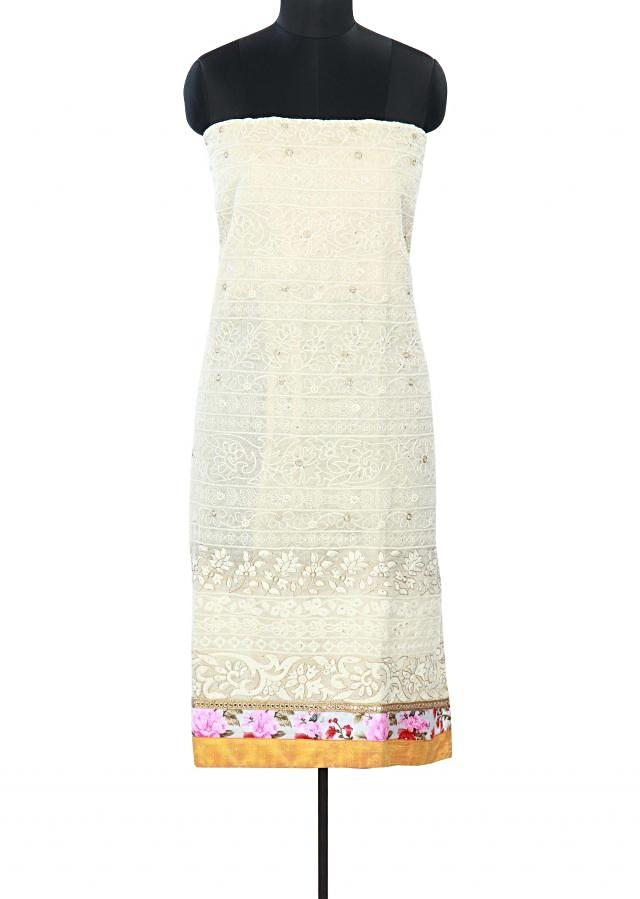 Cream unstitched suit embellished in thread embroidery only on Kalki