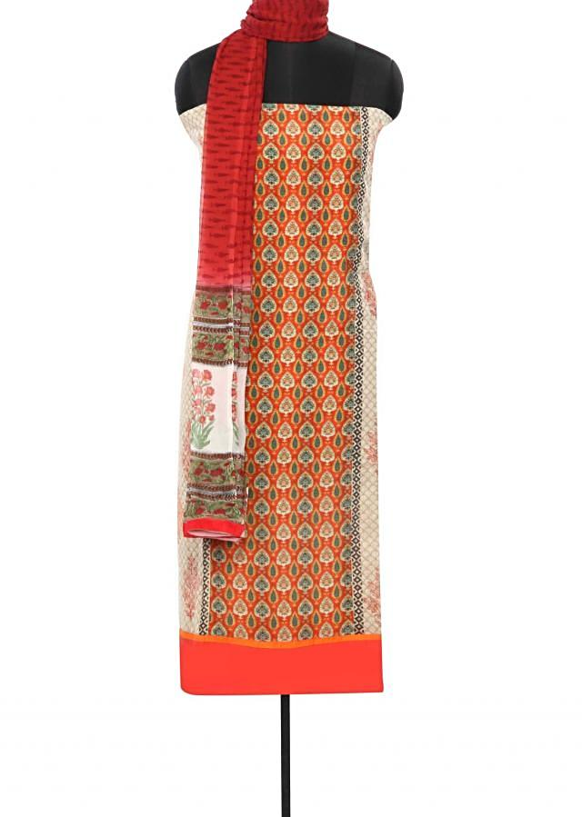 Cream unstitched suit enhanced in floral print only on Kalki