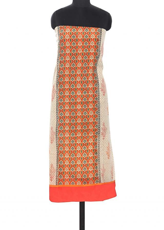 Cream unstitched suit features in floral and bird print only on Kalki