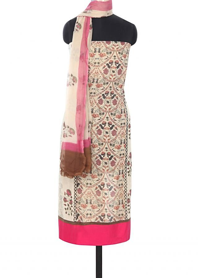 Cream unstitched suit features in floral print only on Kalki