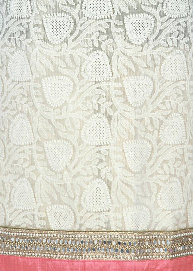 Cream unstitched suit in lucknowi thread embroidery only on Kalki