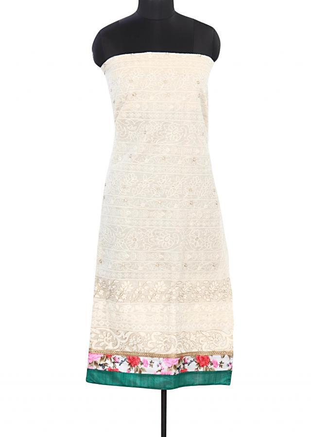 Cream unstitched suit in thread work only on Kalki