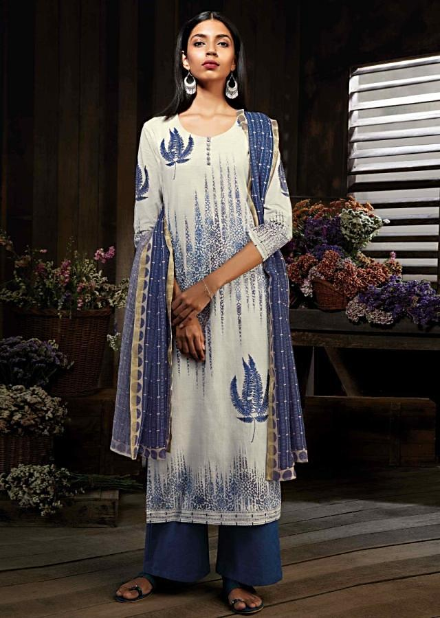 Cream unstitched suit with leaf motif print and kundan work