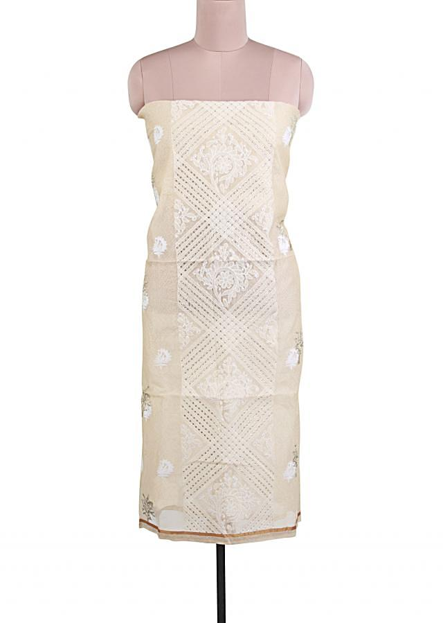 Cream unstitched suit adorn in thread and sequin embroidery only on Kalki