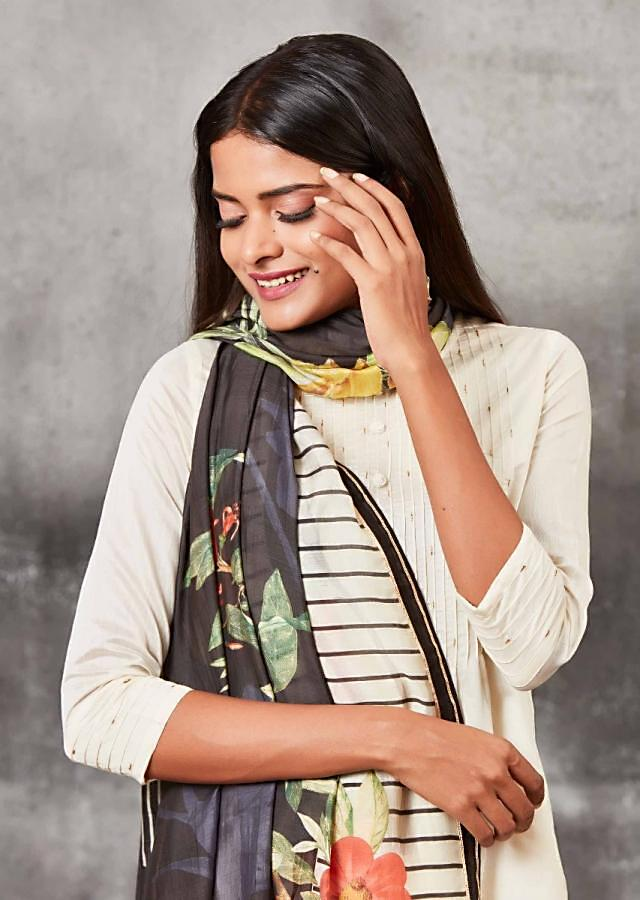 Cream White Dhoti Suit With High Low Hemline And Floral Printed Dupatta Online - Kalki Fashion