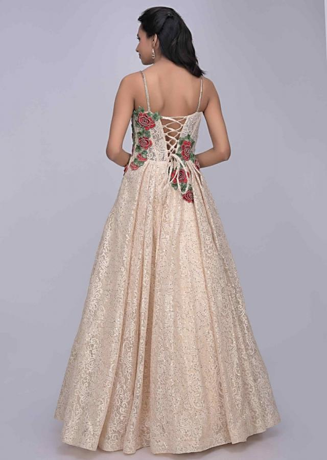 Cream white ethnic gown in floral lace fabric only on Kalki