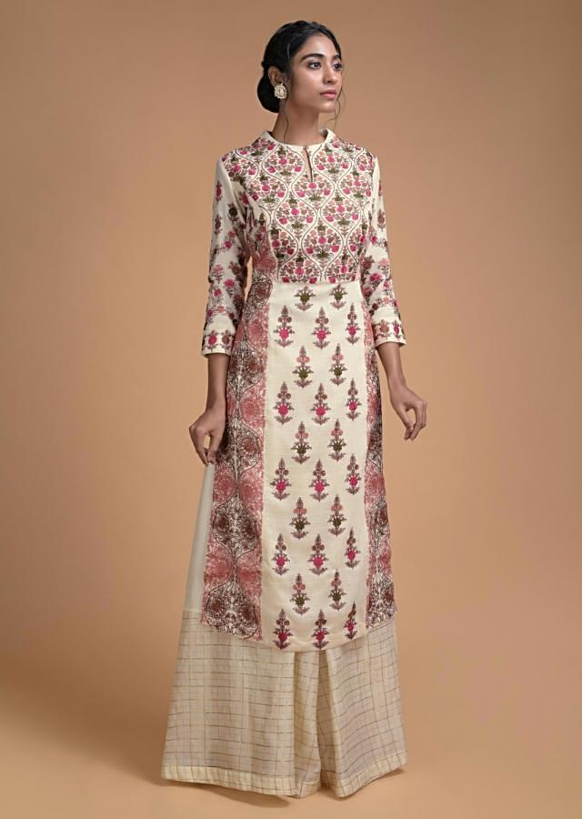 Cream White Palazzo Suit With Kashmiri Thread Embroidery In Moroccan And Floral Pattern Online - Kalki Fashion