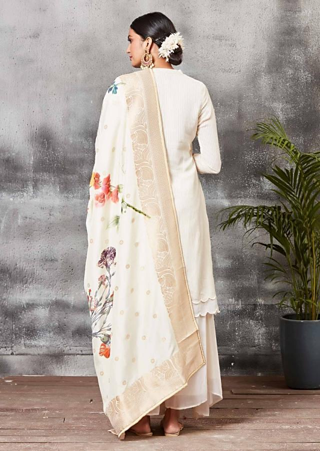 Cream White Palazzo Suit With Layered Scallop Hem And Floral Printed Dupatta Online - Kalki Fashion