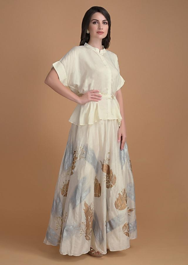 Cream White Skirt And Peplum Top With Foil Print And Zari Online - Kalki Fashion