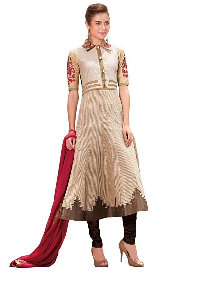Cream anarkali suit enhanced in applique embroidery