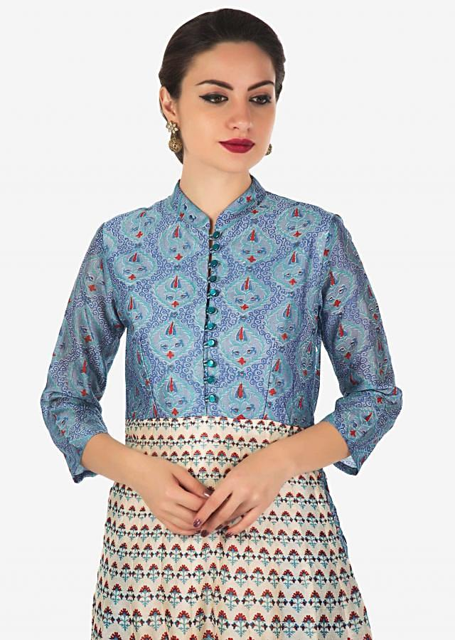 Cream and blue long dress in cotton silk with floral and geometric motif print only on Kalki