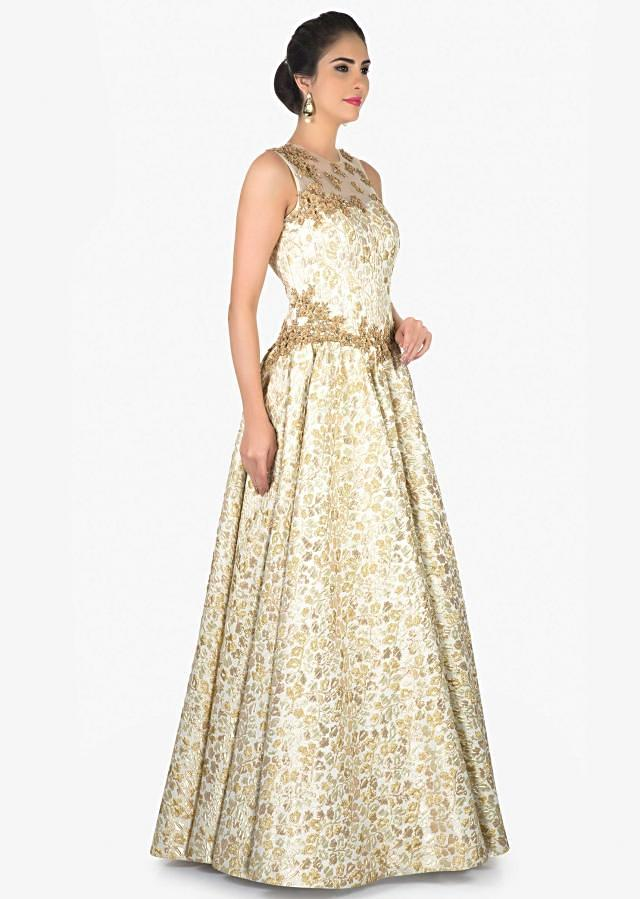 Cream and Gold Brocade Gown in Zardosi work only on Kalki