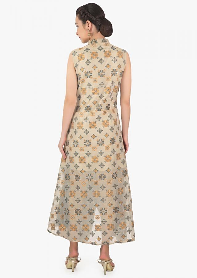 Cream and grey tunic with asymmetric hem line and ikkat motif weave only on Kalki