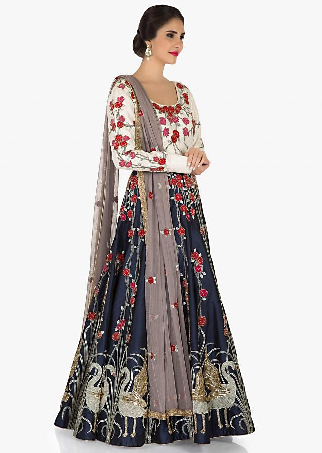 Cream and Navy Blue anarkali gown embellished in resham and  sequin embroidery only Kalki