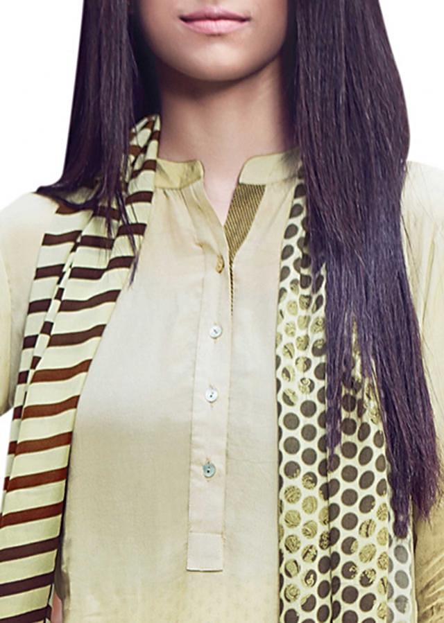 Cream and olive kurti with polka dots printed scarf