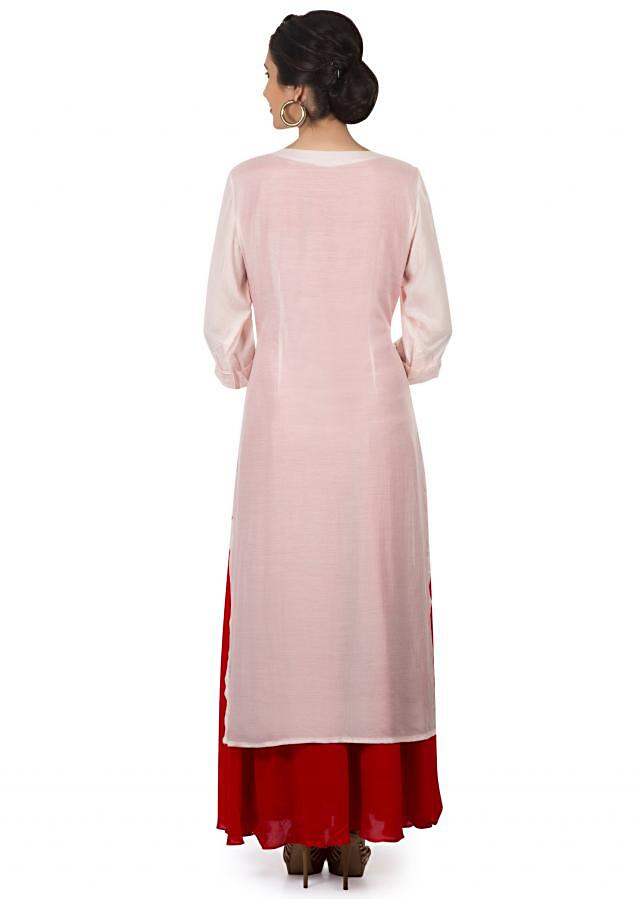 Cream and red cotton kurti embellished in french knot in elephant motif only on Kalki