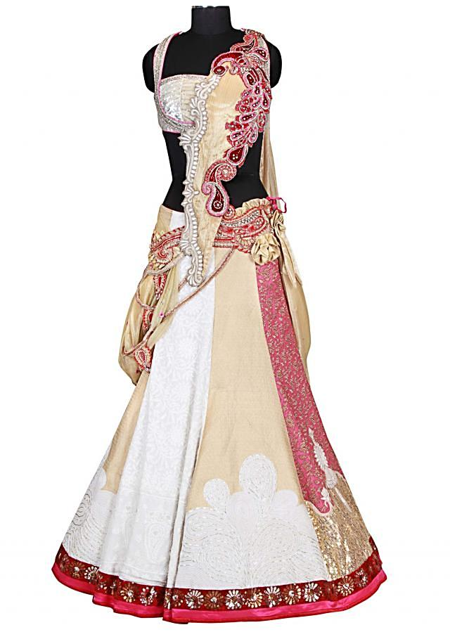Cream and white lehenga with zardozi,pita and diamante work by B91 Exclusive