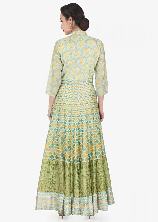 Cream base long kurti in yellow and green print all over only on Kalki