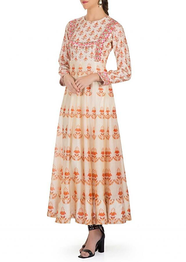 Cream Cotton Silk Dress Featuring Floral Prints, Resham and Zari Embroidery only on Kalki