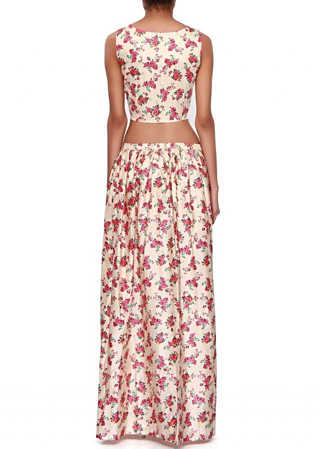 Cream crop top and skirt adorn in print only on Kalki