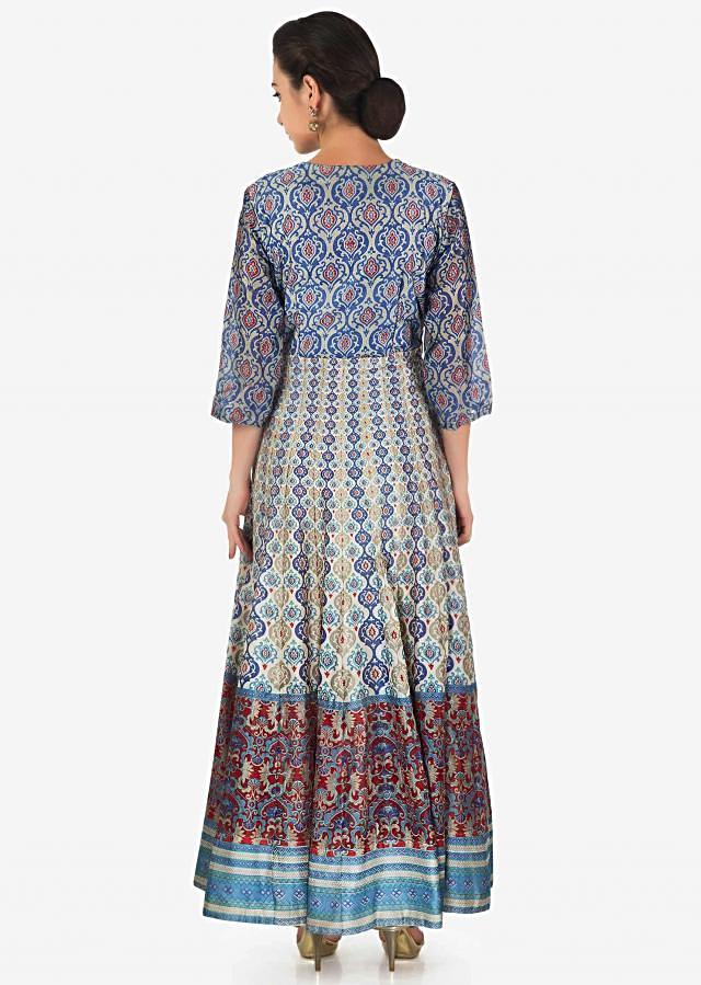 Cream dress in cotton with grey and blue print all over only on Kalki