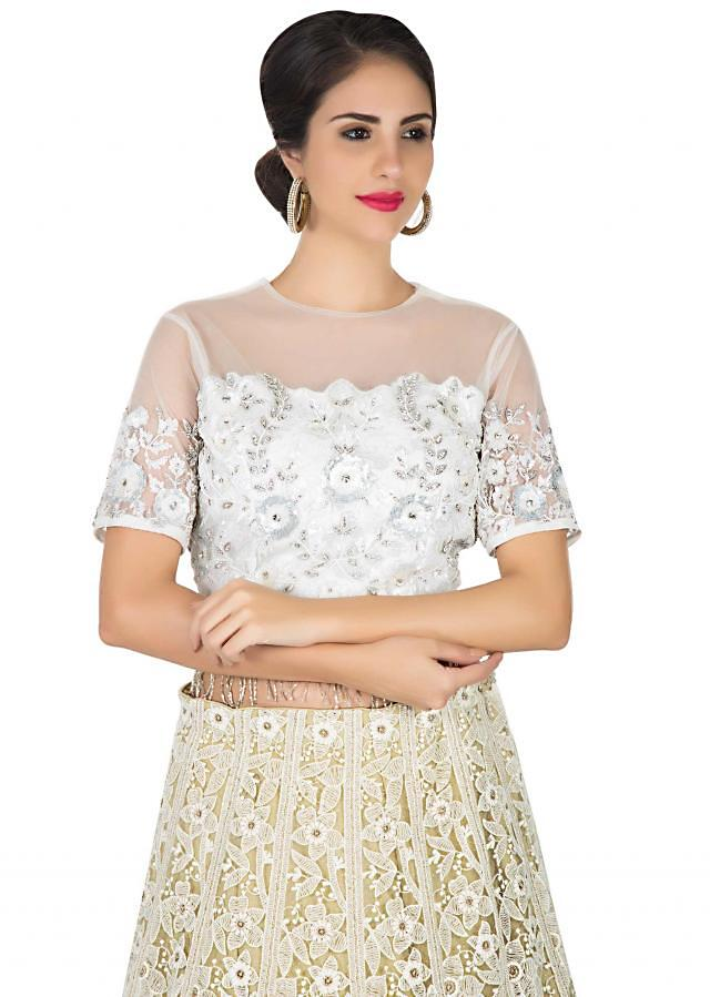 Cream embroidered lehenga with ready blouse in sequin only on Kalki