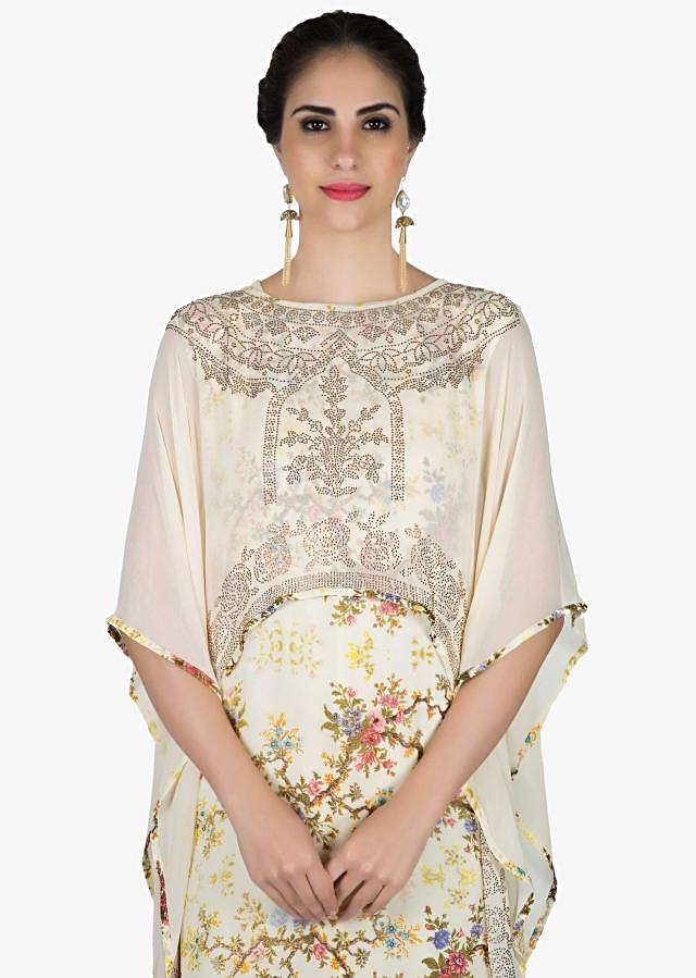 Cream floral printed kurti with kundan embroidered fancy cape only on Kalki