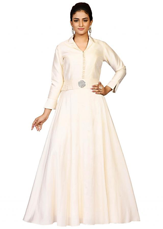 Cream indo-western gown in chanderi flaunting the stone embroidery only at Kalki
