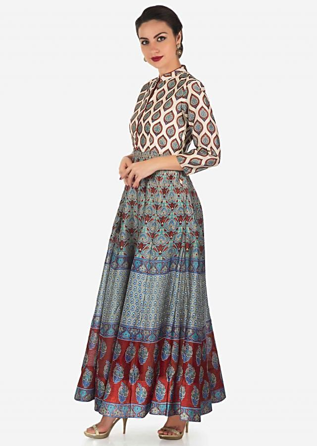 Cream long dress with grey and rust floral butti and jaal motif all over only on Kalki