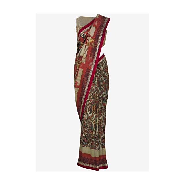 Cream printed saree with sequin embroidery work only on Kalki