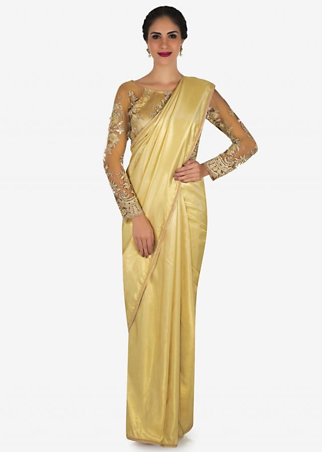 Cream Saree In Shimmer Foil With Moti Embroidered Work Online - Kalki Fashion