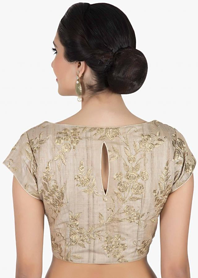 Cream Silk Blouse with zari embroidery in front opening only on Kalki