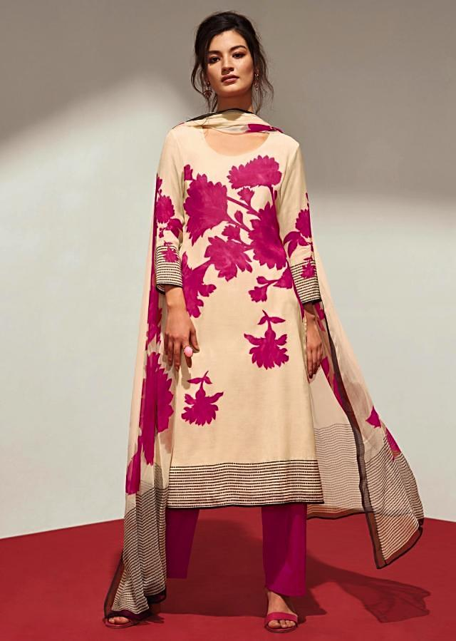 Cream unstithced suit with pink floral print all overonly on Kalki