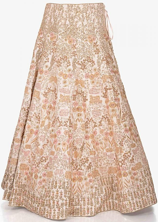 Cremish pink lehenga in raw silk featuring the zari resham work only on Kalki