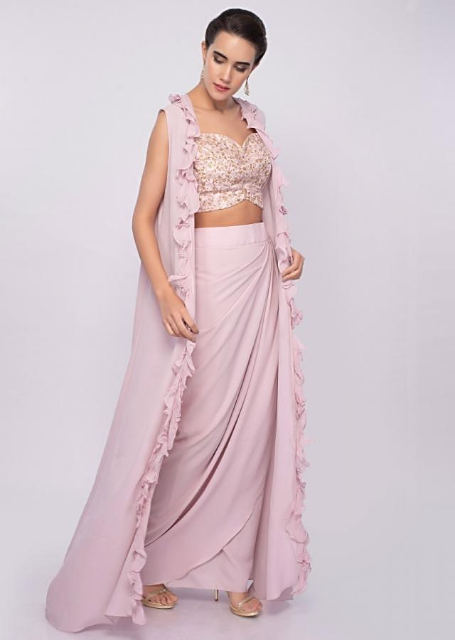 Crepe pink dhoti skirt and crop top with long only on Kalki