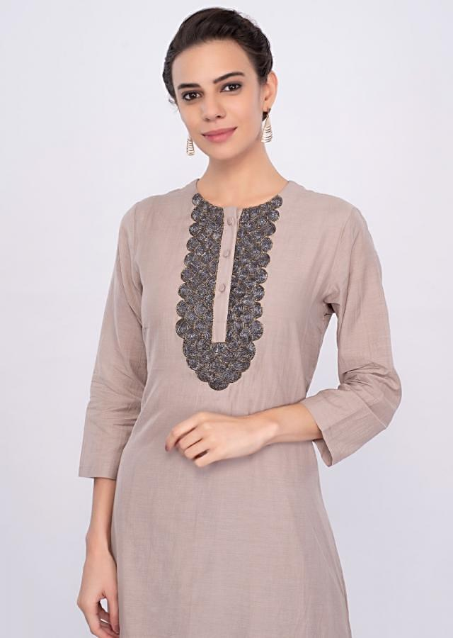 Crepe pink double layer cotton tunic dress only on Kalki