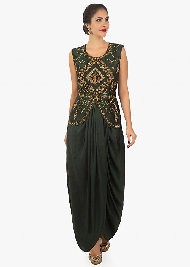 Dark Green Dress In Crepe Silk Enhanced With Pleats And A Jacket Online - Kalki Fashion